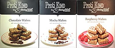 Proti Kind - High Protein Diet Wafer Squares Variety Pack - one Box Each of Three Different Flavors 15 Servings, 30 wafers