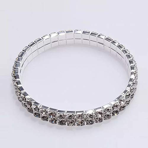 KUANGLANG Fashion Rhinestones Charm Bracelet For Women Girls Stretch Elastic Bangles Silver Color Bracelet Accessories Jewelry