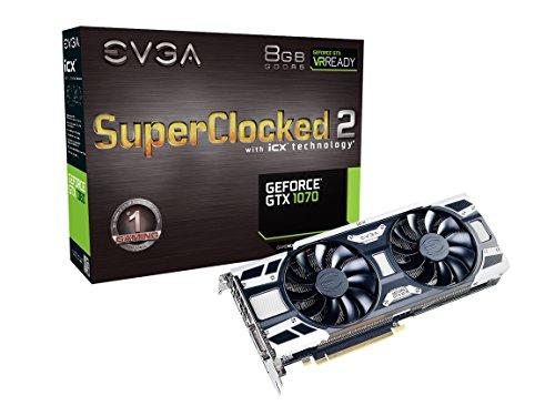 EVGA GeForce GTX 1070 SC Gaming ACX 3.0 Grafikkarte 08G-P4-6173-KR schwarz, weiß Real Boost Clock: 1784 MHz