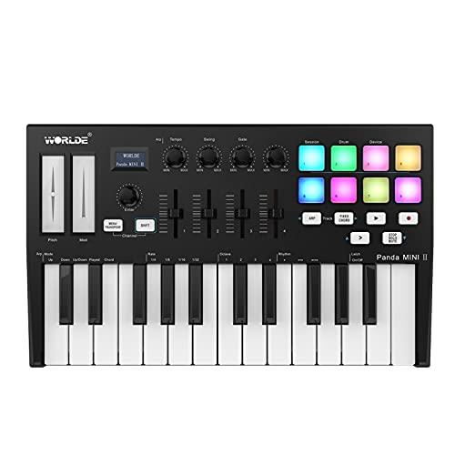 Duotar MIDI device Panda MINI II portátil 25 teclas USB MIDI controlador de teclado com 8 RGB Backlit Trigger Pads 4 botões de controle atribuíveis 4 controles