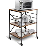 amzdeal Kitchen Cart, Bar Serving Cart, Bakers Rack with 3 Tier Storage Shelves, Rolling Coffee Table on Wheels, Movable and Lockable, Microwave Stand, Utility Storage Cart, Vintage Brown