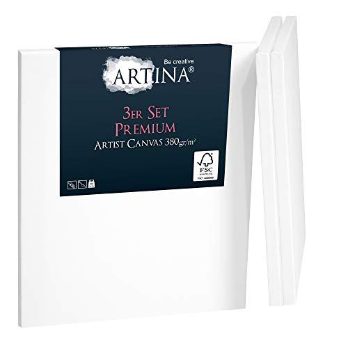 Artina 3er Set FSC® Keilrahmen Premium Leinwand 40x40 cm - 100% Baumwolle Leinwand weiß vorgrundiert - Leinwände Set 380g/m²