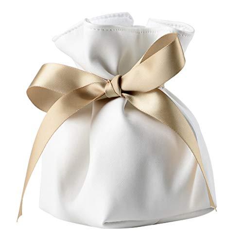 B Baosity Bolsas Blancas Exquisitas De La Joyería para El Banquete De Boda Caramelos Regalos De La Joyería Monedas Empaquetado PU Bolsa De Cuero Bolsas De La Jo
