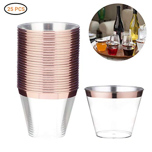 Rose Gold drinkbeker, plastic beker, wegwerpbeker, doorzichtig drinkbeker met gouden rand, voor feest, verjaardag, bruiloft, bar, café, hotel