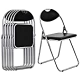 Giantex 6 PCS Folding Chair with Carrying Handle PU Leather and Metal Frame Cushioned Foldable Conference Chairs Set for Home Office Waiting Room Guest Reception Party, Black