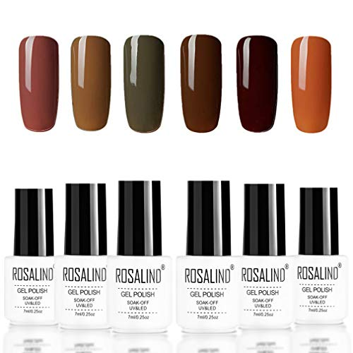 ROSALIND Esmaltes Semipermanentes marrón serie uv and led Esmaltes de uñas para manicura...