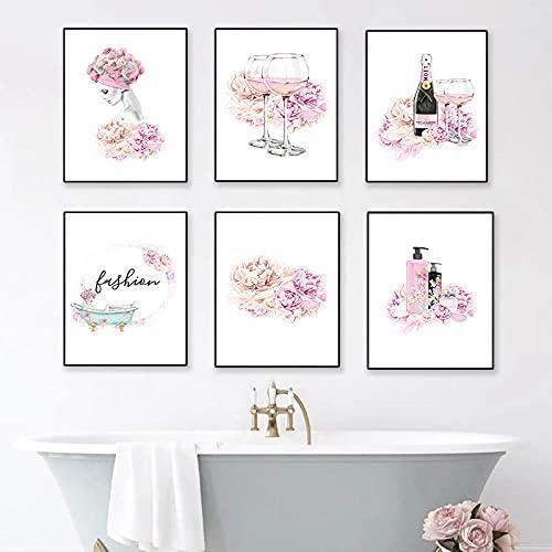 Perfume nórdico Flor Vino tinto Arte de la pared Carteles e impresiones Mujeres Gel de ducha Lienzo Pintura Baño Decoración abstracta para el hogar 30x40cmx6 Sin marco
