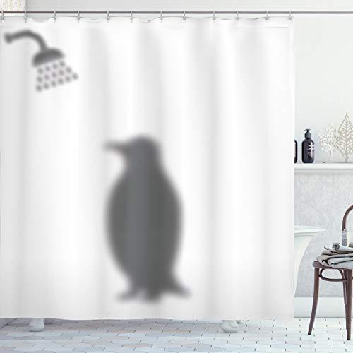 ABAKUHAUS Duschvorhang, Pinguin Dusche Schatten Spaß Lustiger Duschvorhang Grau Töne Shadows Digital Kunst Bild Druck, Wasser & Blickdicht aus Stoff mit 12 Ringen Schimmel Resistent, 175 X 200 cm