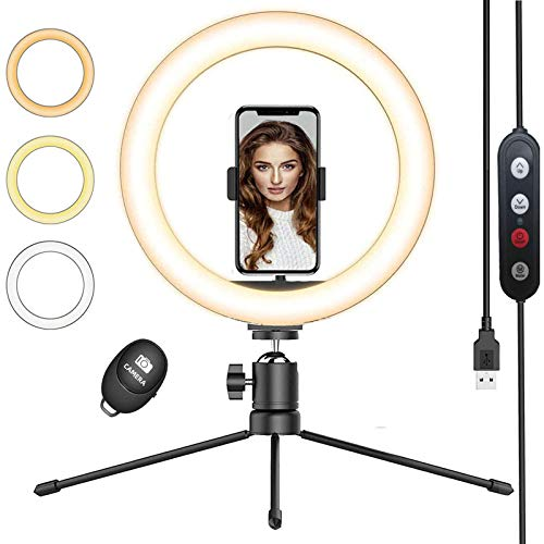 QI-EU Ring Light with Tripod Stand & Phone Holder, 10.2