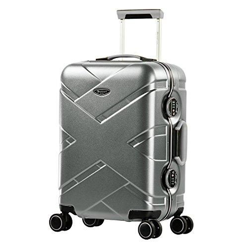 Eminent Koffer Gold Crossover S 54cm 39L Aluminiumrahmen 4 Doppelrollen 360° TSA Schloss Handgepäck Silber/Schwarz