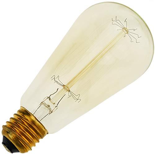 Cablematic Edison Glühwendel Lampe E27 40W 220VAC ST64 Spitze 64x146mm