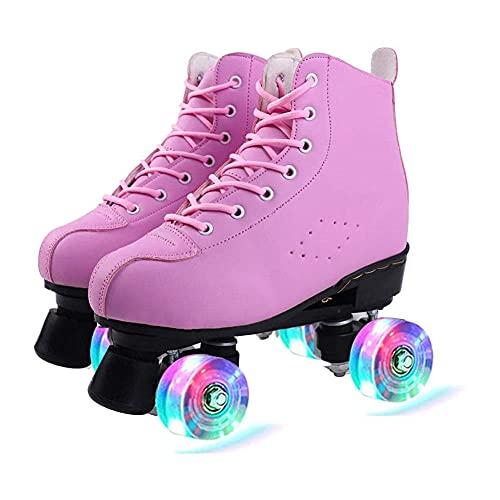 Rollschuhe PU Leder High-top für Indoor Outdoor Rollschuhe Klassische 4 Rollen Skating Roller Leder Skates Glänzend Rollschuhe für Damen Herren Jungen Mädchen-Rosa_37.