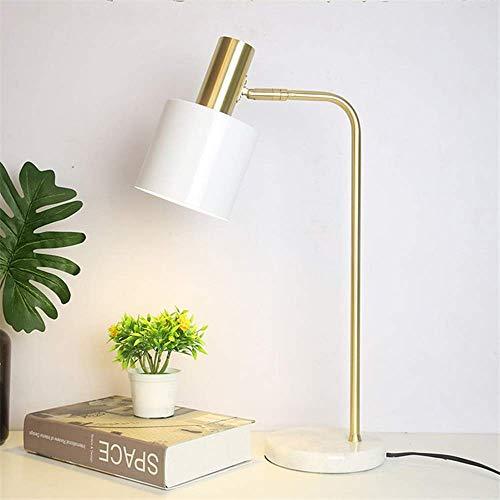 GLYYR Lámpara de Escritorio Lámpara Blanca cálida de 18 * 18 * 55 CM, Cama nórdica Ajustable en ángulo Simple, Hierro Forjado básico, mármol de Lujo, Aprendizaje Personalizado