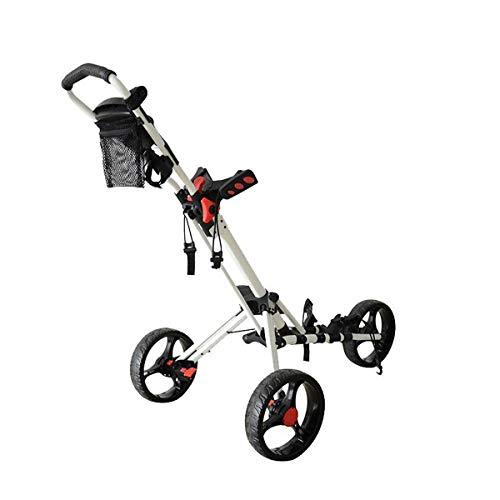 ZXSZX Golf Trolley Faltbares Design Mit Regenschirm 3 Räder Ständer Golf Push Pull Cart Bag Carrier Golf Trolley Mit Getränkehalter,White