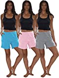 Sexy Basics Women's 3 Pack Cotton Sleep Pajama Shorts with Pockets & Drawstring (3 Pack- Pink/Turqoise/Grey, XXX-Large)