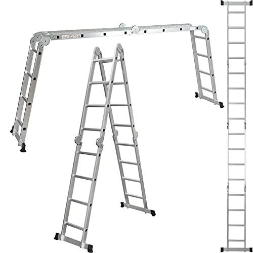 ALDORR 4x4 Klappleiter aus hochwertigem Aluminium   Mehrzweckleiter   Belastbarkeit bis zu 150kg   Sicher und zuverlässig (EN131)
