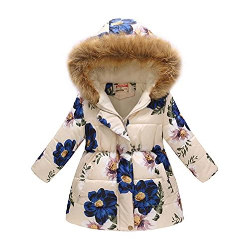 Cappotto con cappuccio in pelliccia per neonata, giacca a mezza lunghezza, motivo stampato per bambini, morbido e confortevole