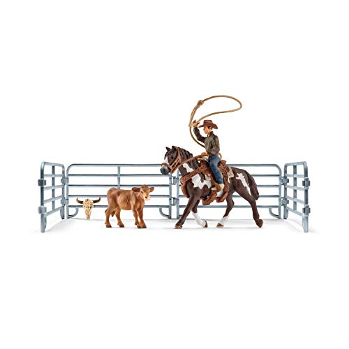 Schleich Farm World 11-Piece Roping Cowboy and Horse Toy Playset for Kids Ages 3-8