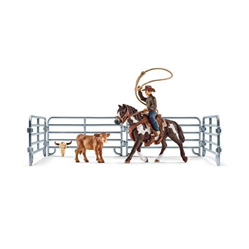 Schleich 41418 Farm World Spielset - Team roping mit Cowboy, Spielzeug ab 3 Jahren