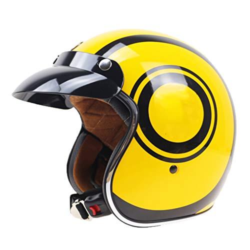 Retro Open Face Motorcycle Half Helmet, 3/4 Open Face Motorcycle Helmet Half Helmet Best Young Men and Women Motorcycle Helmet DOT Certified Cruiser Pilot Half Helmet
