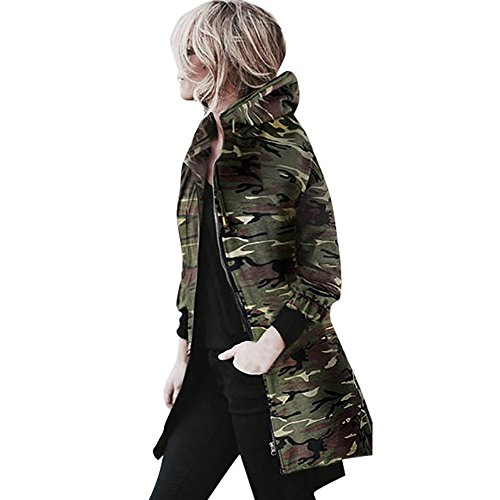 SuperSU Herbst und Winter Damen Kapuzen Long Sleeve Coat Jacke Windbreaker Camouflage Outwear wasserdichte Jacke Warm Funktionsjacke Strickjacke Langarm Oversize Boyfriend Style Lang Kimono