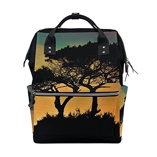 DEZIRO Mochila de lona con silueta de árboles, puesta de sol, para mujer