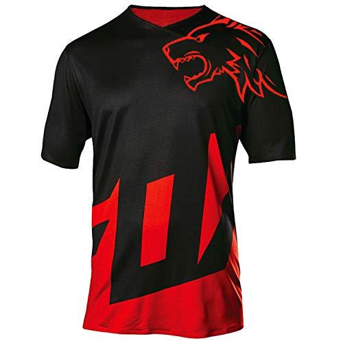 Herren-Mountainbike-Trikot, kurzärmelig, für Downhill-Fahrrad, MTB-Oberteil, schnell trocknend und atmungsaktiv, Herren, schwarz / rot, XXX-Large