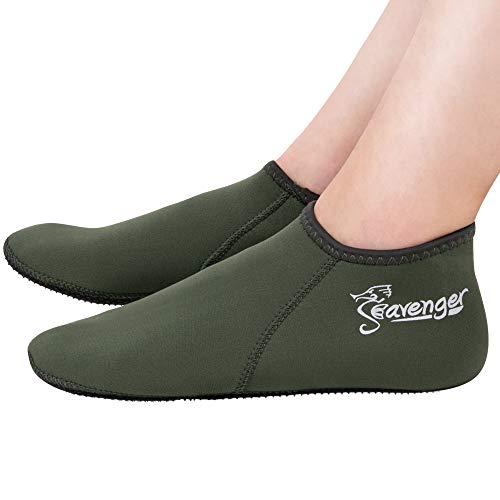 Seavenger 3mm Neoprene Socks for Scuba Diving, Snorkeling, Swimming & All Water Sports (Olive Green, Small)