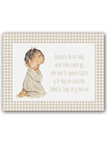Cuadro Infantil Niña rezando con Oración Jesusito. Tamaño 25 x 32cm. Impresión en lienzo