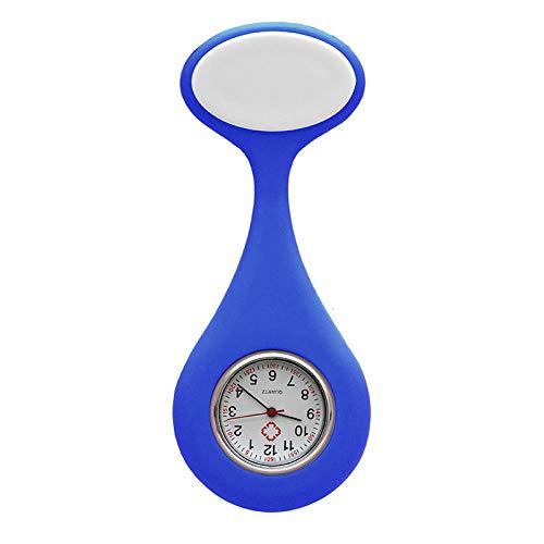 Cxypeng Schwesternuhren Krankenschwesteruhr,Silikon wasserdichte Brosche Krankenschwester Uhr, medizinische Geschenk Uhr Studententasche Uhr-blau,Schwesternuhr Pulsuhr