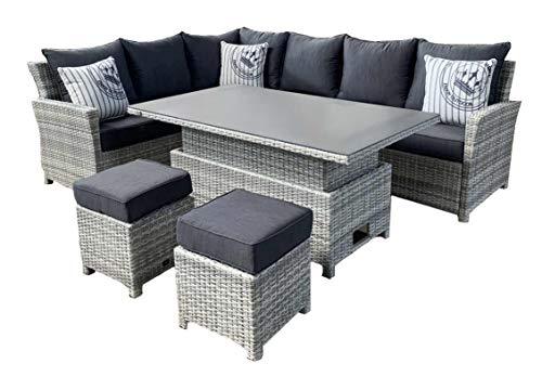 Mandalika Garden Parla Deluxe - Conjunto de muebles de jardín (ratán sintético, incluye mesa regulable en altura)