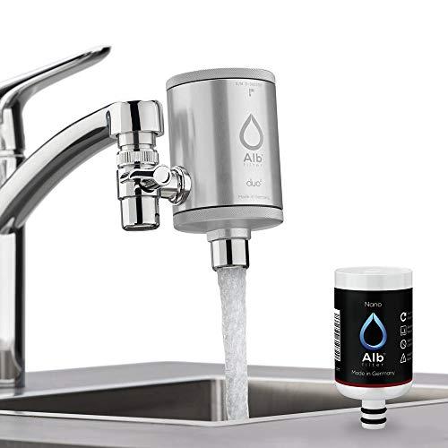 Alb Filter® Duo Nano Trinkwasserfilter | Armatur Anschluss | Gegen Mikrokeime wie E. coli, Legionellen uvm. | Set mit Gehäuse und Kartusche | Made in Germany Silber