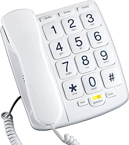Packard Bell PB300WH Big Button Phone for Elderly Seniors Landline Corded Phone with Speakerphone