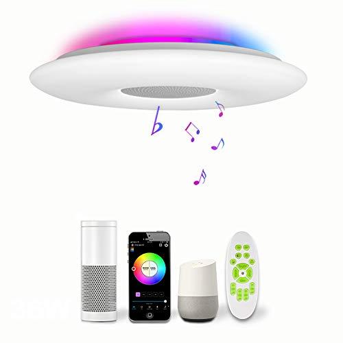 Inteligente LED Iluminación De Techo Música Bluetooth RGB Plafón De Techo Con Alexa/Assistant/Control Remoto/APP Control Redondo Luz Del Panel Iluminación De Ambiente, Salón Dormitorio Decoración