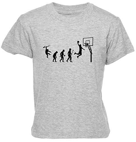 Baloncesto Evolución Gris Unisexo Niño Niña Camiseta Manga Corta Tamaño M Kids Boys Girls T-Shirt Grey Size M