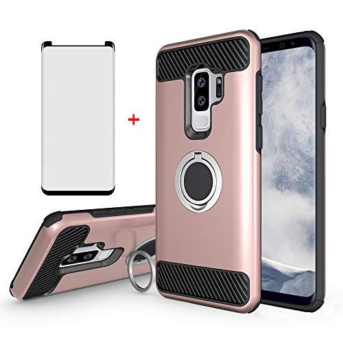 Funda para Samsung Galaxy S9 Plus con protector de pantalla de vidrio templado amistoso Accesorios soporte magnético soporte soporte soporte soporte protector para Glaxay S9plus S9+9S Edge 9+S 9 9plus mujeres