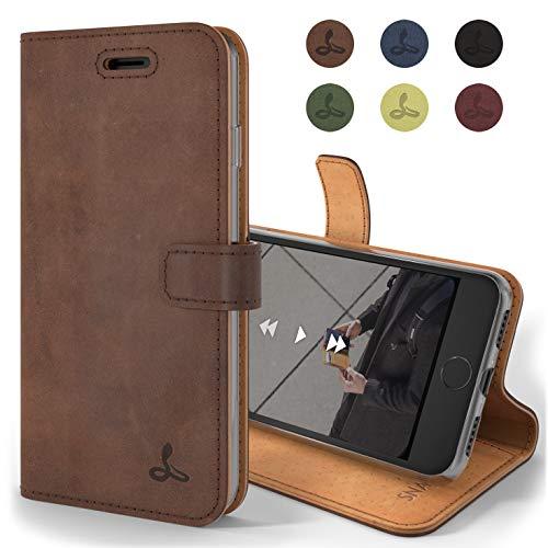 Snakehive iPhone 7 Handy Schutzhülle/Klapphülle echt Lederhülle mit Standfunktion, Handmade in Europa für iPhone 7- (Kastanien Braun)