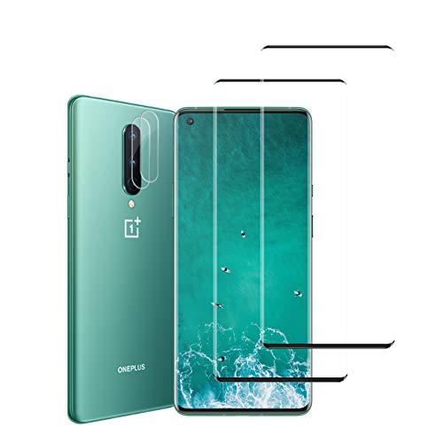 Oneplus 8 Screen Protector + Camera Lens Protectors by YEYEBF, [2 + 2 Pack] Full Coverage Tempered Glass Screen Protector for Oneplus 8 5G [Case-Friendly][Anti-Shatter][3D Glass]