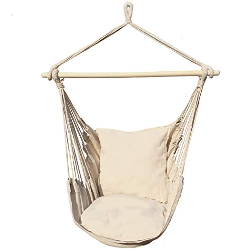 Ankwell Hammock Chair Hanging Rope Swing Chair - 2 Seat Cushions Included - Quality Cotton Weave for...