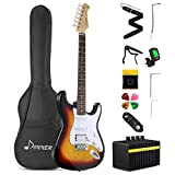 Donner DST-102S Solid Body 39 Inch Full-Size Electric Guitar Kit Sunburst, Beginner Starter, with Amplifier, Bag, Capo, Strap, String, Tuner, Cable, Picks