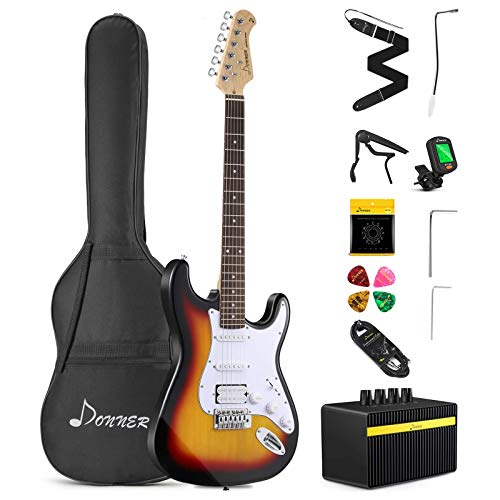Donner DST-102S Solid Body 39 Inch Full Size Electric Guitar Kit Sunburst, Beginner Starter, with Amplifier, Bag, Capo, Strap, String, Tuner, Cable, Picks