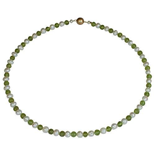 Funk-Collier Edelsteinkette Peridot, Sw. Zuchtperle, Magnetschloß, ca. 44.5 cm, Damen