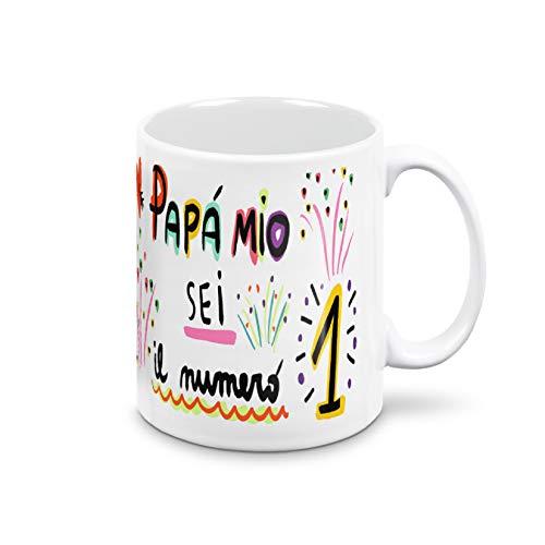Taza Día del Padre. Taza de desayuno para papá. Idea de regalo para el Día del Padre. Taza certificada de 325 ml de cerámica ultra blanca (Sei el número 1)