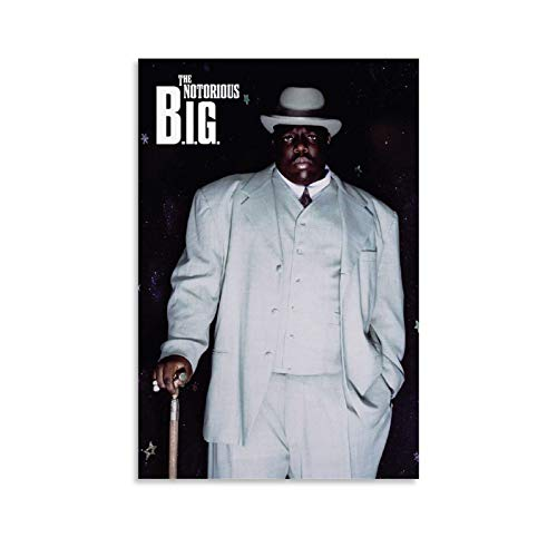 The Notorious B.I.G White Suit Biggie Smalls Rapper Hip Hop Music 90s Retro Vintage Style Cool Poster Poster dekorative Malerei Leinwand Wandkunst Wohnzimmer Poster Schlafzimmer Malerei 24x36inch(60x9
