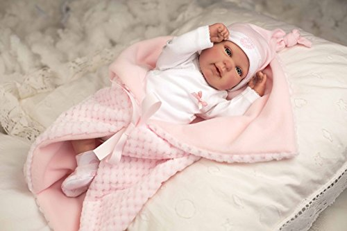 Puñecas Arias – Reborn Puppe 45 rosa mit Decke, Mehrfarbig (98020)