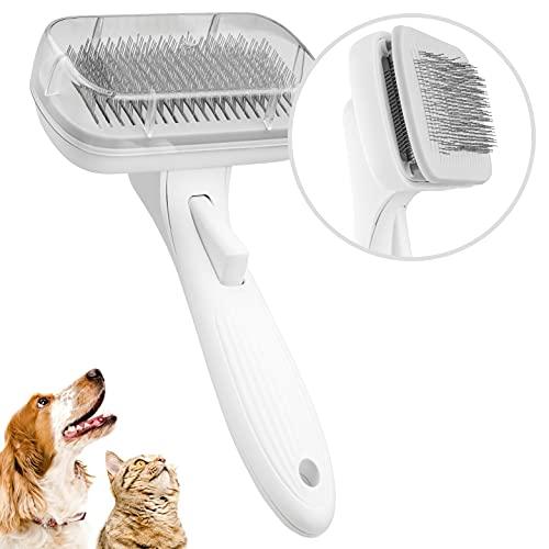 KARAND 2 in 1 Unterfell- und Zupfbürste, Selbstreinigende Katzenbürste & Hundebürste, Haustierbürste für Katzen & Hunde, für Langhaar & Kurzhaar, Fellpflege für große & kleine Katzen & Hunde