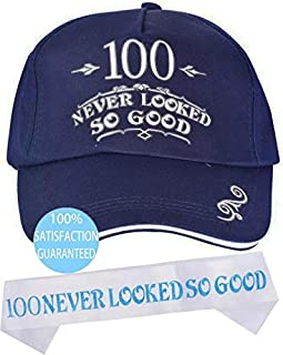 100th Birthday Hat and Sash, Happy 100th Birthday Party Supplies, 100th Birthday, 100 Never Looked So Good Sash, Novelty Gift for Men, 100th Birthday Party Supplies Gifts and Decorations