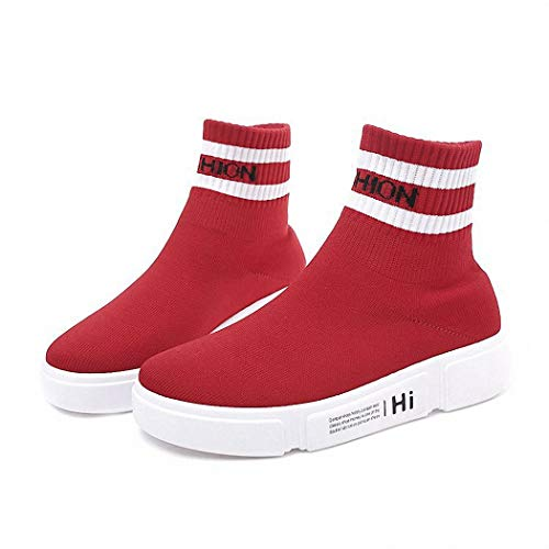 Lucdespo Ladies Casual Shoes Bottes Plates Bottomed Chaussettes Chaussures Joker Style Flying Mesh Chaussures de Sport.Gules, 36