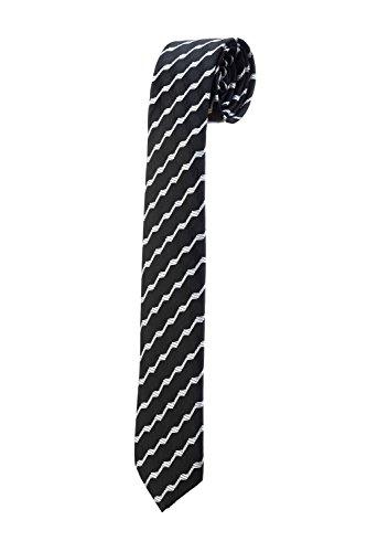 Oh La Belle Cravate Cravate fine slim à rayures noir blanc vague homme RTS