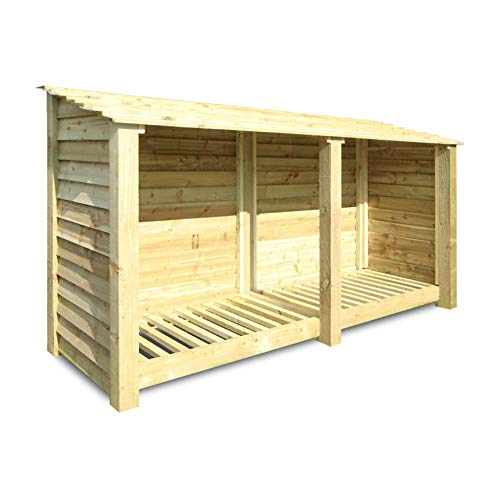 Rutland County Garden Furniture Normanton 4ft Tall Log Store/Garden Storage Heavy Duty Pressure Treated Timber With Forward Sloping Roof (Solid Log Store Only, Light Green)